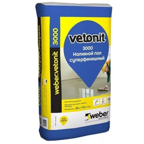Наливной пол супер финишный Weber Vetonit 3000 / Вебер Ветонит