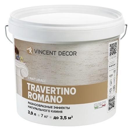 Эффект натурального камня травертина Vincent Decor Travertino Romano / Винсент Декор