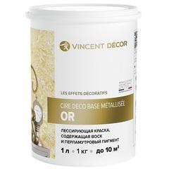 Краска лессирующая золотая с воском  Vincent Decor Cire Deco Base Or / Винсент Декор