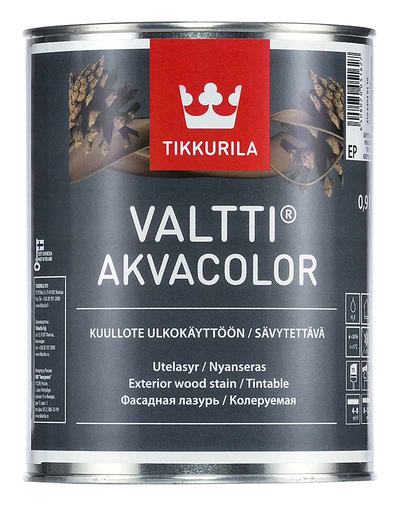 Лазурь фасадная для древесины Tikkurila Valtti Akvacolor / Тиккурила Валтти Акваколор